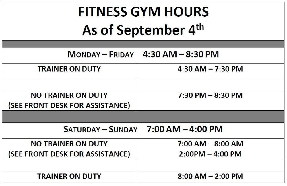NEW Fitness Gym Hours as of September 4th