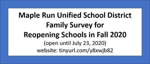 If you haven't seen the Reopening Schools Family Survey, it can be found here and is open until July 23rd