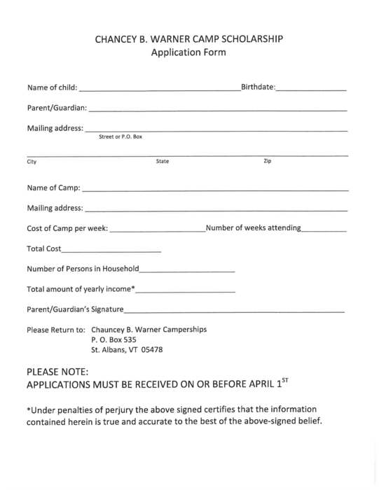 Warner Scholarship form