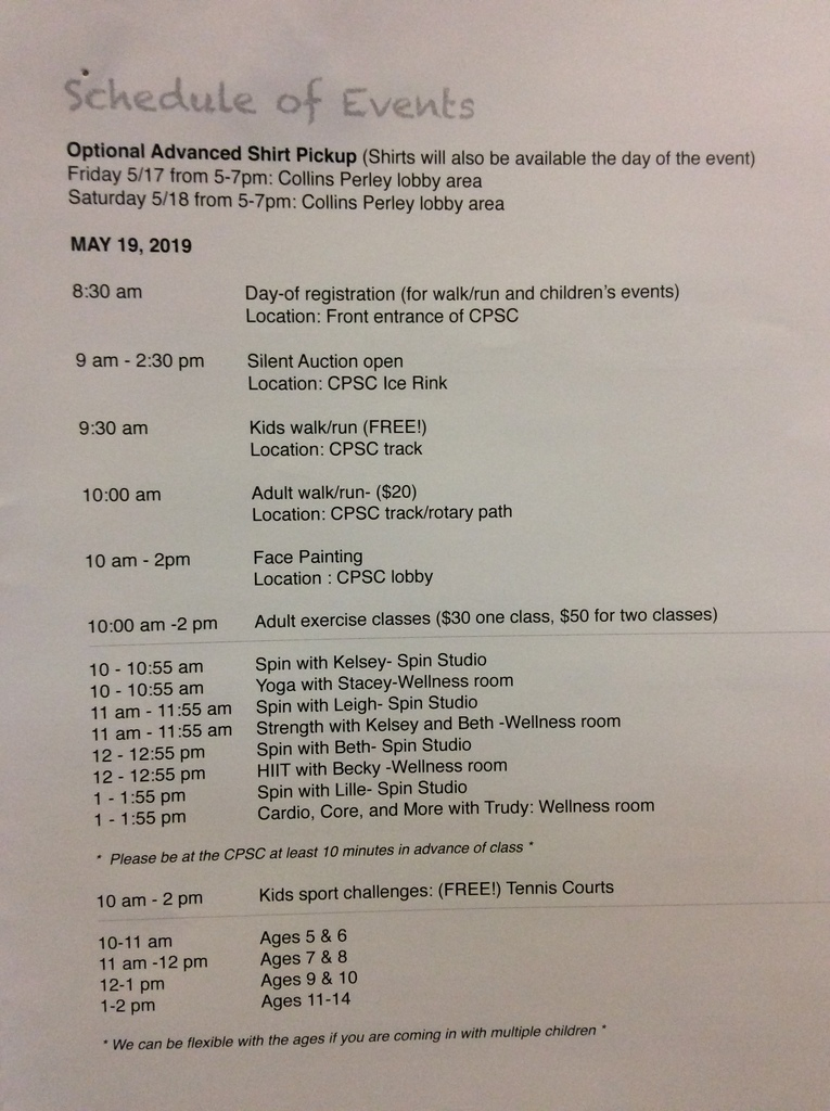 Schedule for Grady's Family Fun Day schedule